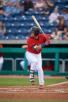 State College Spikes right fielder Lars Nootbaar (55) at bat during a game against the West Virginia Black Bears on August 30, 2018 at Medlar Field at Lubrano Park in State College, Pennsylvania.  West Virginia defeated State College 5-3.  (Mike Janes/Four Seam Images)