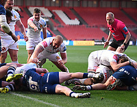 23rd April 2021; Ashton Gate Stadium, Bristol, England; Premiership Rugby Union, Bristol Bears versus Exeter Chiefs; Sam Skinner of Exeter Chiefs goes over the line under pressure and scores a try