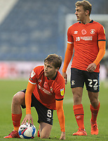 7th November 2020 The John Smiths Stadium, Huddersfield, Yorkshire, England; English Football League Championship Football, Huddersfield Town versus Luton Town; Luke Berry of Luton Town and Kiernan Dewsbury-Hall of Luton Town  make free kick plans