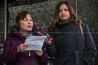 """(From L to R) Edie Friedman (Jewish Council for Racial Equality) & Sabby Dhalu (Unite Against Fascism, UAF Assistant secretary).<br /> <br /> London, 22/03/2014. """"Stand Up To Racism & fascism - No to Scapegoating Immigrants, No to Islamophobia, Yes to Diversity"""", national demo marking UN Anti-Racism Day organised by TUC (Trade Union Congress) and UAF (Unite Against Fascism).<br /> <br /> For more information please click here: http://www.standuptoracism.org.uk/"""