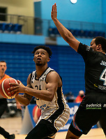 Justin Gordon of Newcastle Eagles looks to shoot during the BBL Championship match between Surrey Scorchers and Newcastle Eagles at Surrey Sports Park, Guildford, England on 20 March 2021. Photo by Liam McAvoy.