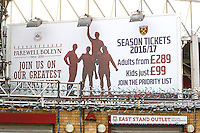 A sign detailing ticket prices for the Olympic Stadium ahead of West Ham United Ladies vs Tottenham Hotspur Ladies, FA Women's Premier League Football at the Boleyn Ground, Upton Park