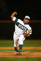 Chicago State Cougars relief pitcher Jamary McKinney (13) delivers a pitch during a game against the Georgetown Hoyas on March 3, 2017 at North Charlotte Regional Park in Port Charlotte, Florida.  Georgetown defeated Chicago State 11-0.  (Mike Janes/Four Seam Images)