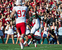 PASADENA, CA - January 1, 2013: Stanford wide receiver Jamal-Rashad Patterson (21) makes a catch during the Stanford Cardinal vs the Wisconsin Badgers game in the 2013 Rose Bowl Game in Pasadena, California. Final score Stanford 20, Wisconsin 14.