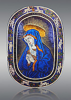 Enamelled plaque of Louis 12th known as the Sorrowful Virgin made in Limoge around 1500. inv 11170, The Louvre Museum, Paris.