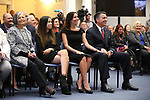 Gov. Brian Sandoval unveils his official portrait during a ceremony at the Capitol in Carson City, Nev., on Thursday, Oct. 25, 2018. His mom Teri, left, daughter Marisa, 14, and his wife Lauralyn were among the family and friends on hand for the ceremony. <br /> Photo by Cathleen Allison/Nevada Momentum