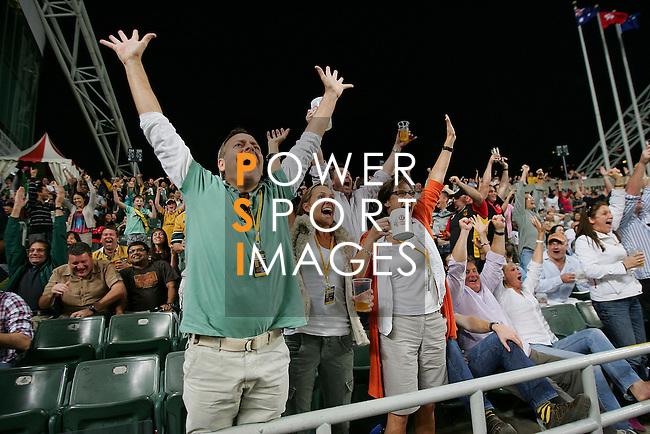 Fans of Australia's Wallabies celebrate after winning the match of DHL Hong Kong Bledisloe Cup between New Zealand All Blacks and Australia Wallabies at Hong Kong Stadium on October 30, 2010 in Hong Kong, China.
