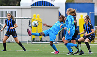 Union's Veronique Zang Bikoula pictured in a fight for the ball during a female soccer game between the women teams of Club Brugge YLA Dames and Union Saint-Ghislain Tertre-Hautrage Ladies on the 1/16 th qualifying round for the Belgian Womens Cup 2020  2021 , on saturday 26 th of September 2020  in Brugge , Belgium . PHOTO SPORTPIX.BE | SPP | DAVID CATRY