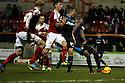 Lucas Akins of Stevenage shoots at goal but his effort is saved<br />  - Swindon Town v Stevenage - Johnstone's Paint Trophy - Southern Section Semi-final  - County Ground, Swindon - 10th December, 2013<br />  © Kevin Coleman 2013