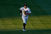 Tri-City ValleyCats left fielder Seth Beer (34) jogs off the field during a game against the Vermont Lake Monsters on June 16, 2018 at Joseph L. Bruno Stadium in Troy, New York.  Vermont defeated Tri-City 6-2.  (Mike Janes/Four Seam Images)