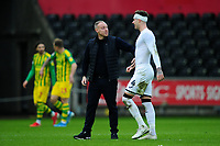 Steve Cooper Head Coach of Swansea City speaks with Joe Rodon of Swansea City at full time during the Sky Bet Championship match between Swansea City and West Bromwich Albion at the Liberty Stadium in Swansea, Wales, UK. Saturday 07 March 2020