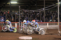 Heat 8: Bridger, Woodward, Sedgmen and Mear off the start in front of a bumper crowd - Lee Richardson Memorial Speedway Meeting at Arena Essex Raceway, Purfleet - 28/09/12 - MANDATORY CREDIT: Gavin Ellis/TGSPHOTO - Self billing applies where appropriate - 0845 094 6026 - contact@tgsphoto.co.uk - NO UNPAID USE.