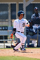 Detroit Tigers Yomar Valentin (86) during a Minor League Spring Training game against the Atlanta Braves on March 22, 2018 at the TigerTown Complex in Lakeland, Florida.  (Mike Janes/Four Seam Images)