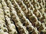The Terracotta Army buried with the Emperor of Qin in 209-210 BC in Xian, China.