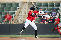 Gavin Sheets (23) of the Kannapolis Intimidators at bat against the Hagerstown Suns at Kannapolis Intimidators Stadium on July 9, 2017 in Kannapolis, North Carolina.  The Intimidators defeated the Suns 3-2 in game two of a double-header.  (Brian Westerholt/Four Seam Images)