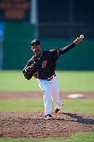 Batavia Muckdogs relief pitcher Manuel Rodriguez (47) delivers a pitch during a game against the West Virginia Black Bears on July 1, 2018 at Dwyer Stadium in Batavia, New York.  Batavia defeated West Virginia 8-4.  (Mike Janes/Four Seam Images)