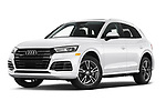 Stock pictures of low aggressive front three quarter view of a 2020 Audi Q5 Premium 5 Door SUV
