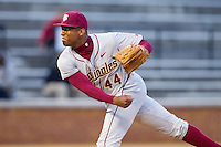 Florida State Seminoles relief pitcher Jameis Winston (44) follows through on his delivery against the Wake Forest Demon Deacons at Wake Forest Baseball Park on April 19, 2014 in Winston-Salem, North Carolina.  The Seminoles defeated the Demon Deacons 4-3 in 13 innings.  (Brian Westerholt/Four Seam Images)