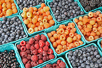 Raspberries and blueberries at Lake Oswego Farmers Market. Oregon