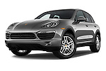 Low aggressive front three quarter view of a 2014 Porsche Cayenne Hybrid S 5 Door SUV
