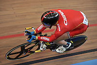 CALI – COLOMBIA – 17-01-2015: Hao Liu de China en la prueba de Velocidad hombres en el Velodromo Alcides Nieto Patiño, sede de la III Copa Mundo UCI de Pista de Cali 2014-2015  / Hao Liu of China in the Men´s Sprint Race at the Alcides Nieto Patiño Velodrome, home of the III Cali Track World Cup 2014-2015 UCI. Photos: VizzorImage / Luis Ramirez / Staff.