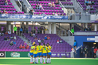 ORLANDO CITY, FL - FEBRUARY 21: Brazil Women's National Team huddle up during a game between Brazil and USWNT at Exploria Stadium on February 21, 2021 in Orlando City, Florida.