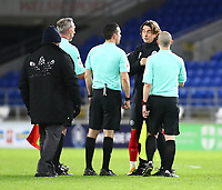 26th December 2020; Cardiff City Stadium, Cardiff, Glamorgan, Wales; English Football League Championship Football, Cardiff City versus Brentford; Thomas Frank, Manager of Brentford speaks with the match officials after the 2-3 win