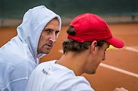 Netherlands, September 27,  2020, Beneden-Leeuwen, TV Lewabo, Competition Men's, Men's premier league, Justin Eleveld (NED) (R) is coached by Thiemo de Bakker (NED)<br /> Photo: Henk Koster/tennisimages.com