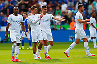 11th September 2021; King Power Stadium, Leicester, Leicestershire, England;  Premier League Football, Leicester City versus Manchester City; Manchester City players celebrate victory after the final whistle