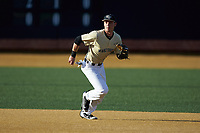 Wake Forest Demon Deacons shortstop Bruce Steel (17) on defense against the Liberty Flames at David F. Couch Ballpark on April 25, 2018 in  Winston-Salem, North Carolina.  The Demon Deacons defeated the Flames 8-7.  (Brian Westerholt/Four Seam Images)