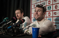 2016 Gent6 winners press conference with Mark Cavendish (GBR/DimensionData) & Sir Bradley Wiggins (GBR/Wiggins) announcing that this was their very last race together (after succesfully teaming up over the previous 12 years)