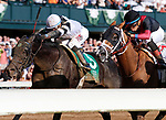 """LEXINGTON, KY - October 6, 2017.  #11 Whitmore and jockey Manuel Franco (inside) win the 165th running of the Stoll Keenon Ogden Phoenix Grade 2 $250,000 """"Win and You're In Breeders' Cup Sprint Division"""" for owner Robert LaPenta, Southern Springs Stables, and Head of Plains Partner.  Lexington, Kentucky. (Photo by Candice Chavez/Eclipse Sportswire/Getty Images)"""
