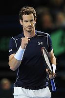 Andy Murray (GB), MARCH 05, 2016 - Tennis : Andy Murray (GB) wins a point during the Davis Cup by PNB Paribas , World Group first round doubles match between Great Britain and Japan at The Barclaycard Arena, Birmingham, United Kingdom. (Photo by Rob Munro/AFLO)