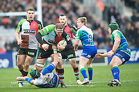 Ollie Kohn of Harlequins charges his way through David McSharry of Connacht Rugby during the Heineken Cup match between Harlequins and Connacht Rugby at The Twickenham Stoop on Saturday 12th January 2013 (Photo by Rob Munro).
