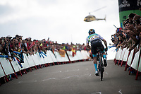 Miguel Angel Lopez (COL/Astana) aka 'Superman' broke off the GC-contenders peloton in the race finale towards the finish (at almost 2000m alt.) and thus regains the GC-lead once again<br /> <br /> Stage 5: L'Eliana to Observatorio Astrofísico de Javalambre (171km)<br /> La Vuelta 2019<br /> <br /> ©kramon
