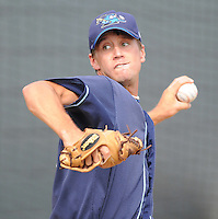 July 7, 2008: LHP Everett Teaford (17) of the Wilmington Blue Rocks, Class A affiliate of the Kansas City Royals, in a game against the Myrtle Beach Pelicans at BB&T Coastal Field in Myrtle Beach, S.C. Photo by:  Tom Priddy/Four Seam Image