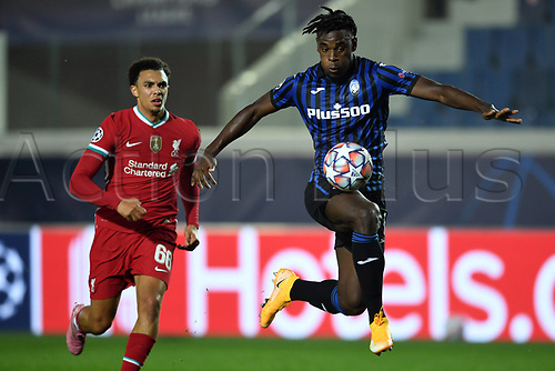 3rd November 2020; Bergamo, Lombardy, Italy. UEFA Champions League football, group stages, Atalanta versus Liverpool FC;  Duvan Zapata (ata) breaks away from Trent Alexander-Arnold (Liv)