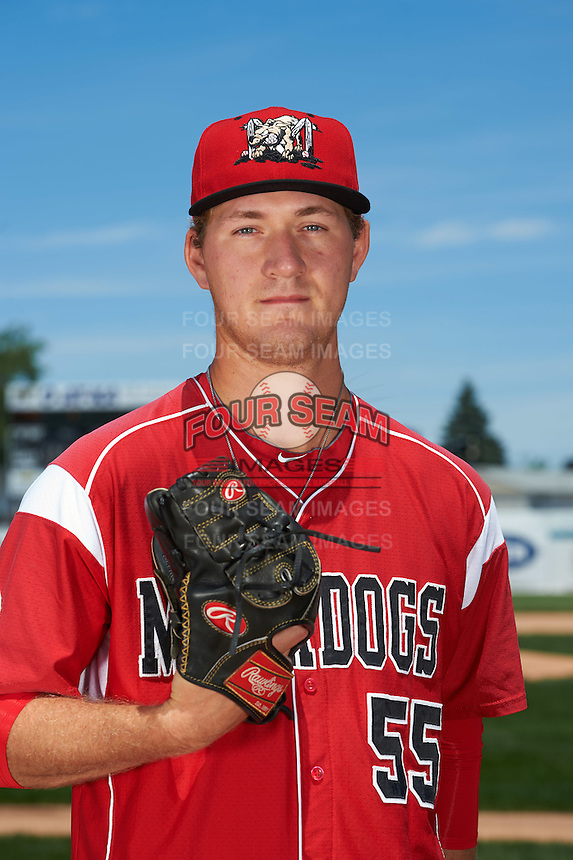 Batavia Muckdogs pitcher Justin Langley (55) poses for a photo before the teams first practice on June 15, 2016 at Dwyer Stadium in Batavia, New York.  (Mike Janes/Four Seam Images)