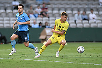 8th February 2021; Jubilee Stadium, Sydney, New South Wales, Australia; A League Football, Sydney Football Club versus Wellington Phoenix; James McGarry of Wellington Phoenix cuts back during an attack as Alexander Baumjohann of Sydney goes by