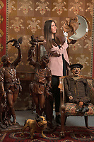 BNPS.co.uk (01202 558833)<br /> Pic: ZacharyCulpin/BNPS<br /> <br /> Pictured: An eclectic array of Continental figures and other unusual antiques sold for thousands of pounds with a British auction house.<br /> <br /> The sale featured a pair of Italian late 19th century walnut huntsmen figures which sold for £26,000, while an early 20th century ventriloquist's dummy in a sailor's costume which sold for £1300<br /> <br /> Other items that went under the hammer with auctioneers Woolley & Wallis, of Salisbury, Wilts, were the Sir Michael Codron Collection of Lions, consisting of needlework, pottery and brass. A mirror once owned by musician George Formby (pictured: right) also sold.