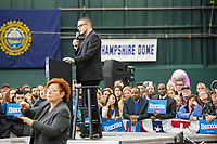 Activist Shaun King speaks at a campaign rally for Democratic presidential candidate and Vermont senator Bernie Sanders at Hampshire Hills Athletic Club in Milford, New Hampshire, on Tue., Feb. 4, 2020. The  event started around 7pm and was the first event Sanders held after the previous day's Iowa Caucuses. The results of the caucuses were unknown until the Democratic party released partial numbers at 5pm, showing Sanders and former South Bend, Ind., mayor Pete Buttigieg both as frontrunners.