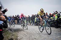 Wout Van Aert (BEL/Jumbo-Visma), Sep Vanmarcke (BEL/EF Education First) & Philippe GILBERT (BEL/Deceuninck-Quick Step)<br /> <br /> 117th Paris-Roubaix 2019 (1.UWT)<br /> One day race from Compiègne to Roubaix (FRA/257km)<br /> <br /> ©kramon