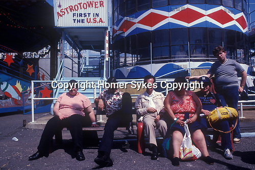 Coney Island New Jersey USA 1970s. Overweight American family.