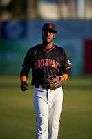 San Jose Giants shortstop Manuel Gerardo (26) before a California League game against the Visalia Rawhide on April 12, 2019 at San Jose Municipal Stadium in San Jose, California. Visalia defeated San Jose 6-2. (Zachary Lucy/Four Seam Images)