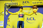 Race leader Mathieu Van Der Poel (NED) Alpecin-Fenix retains the Yellow Jersey at the end of Stage 4 of the 2021 Tour de France, running 150.4km from Redon to Fougeres, France. 29th June 2021.  <br /> Picture: A.S.O./Charly Lopez   Cyclefile<br /> <br /> All photos usage must carry mandatory copyright credit (© Cyclefile   A.S.O./Charly Lopez)