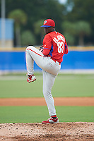 Philadelphia Phillies pitcher Edgar Garcia (83) during an instructional league game against the Toronto Blue Jays on September 28, 2015 at Englebert Complex in Dunedin, Florida.  (Mike Janes/Four Seam Images)