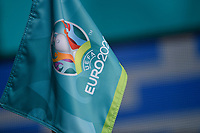 The corner flag with Euro2020 logo is seen during the Uefa Euro 2020 Group A football match between Italy and Wales at stadio Olimpico in Rome (Italy), June 20th, 2021. Photo Andrea Staccioli / Insidefoto