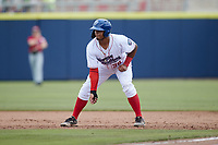 Harvin Mendoza (38) of the Kannapolis Cannon Ballers takes his lead off of first base against the Carolina Mudcats at Atrium Health Ballpark on June 13, 2021 in Kannapolis, North Carolina. (Brian Westerholt/Four Seam Images)