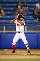 Salem Red Sox shortstop Santiago Espinal (5) at bat during a game against the Lynchburg Hillcats on May 10, 2018 at Haley Toyota Field in Salem, Virginia.  Lynchburg defeated Salem 11-5.  (Mike Janes/Four Seam Images)