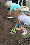 Volunteers of all ages planting native wildlife-friendly plants that were donated by the Wildflower Center